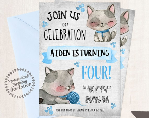 Kitty Customizable Birthday Invitations, Boy Birthday Invitations, Cat birthday party, Cute, Blue, Kitten, Printable Invitations, Boy 078