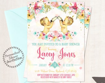 Twin Girls, Vintage Baby Girl Baby Shower Invitations, Baby Shower Invitation, Printable Invitations, Girl, Teal, Pink, Floral 001