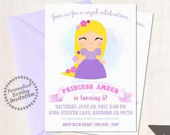 Princess Rapunzel Customizable Birthday Invitations, Princess, Girl Birthday Invitations, Princess Birthday, Printable, Rapunzel Party 054