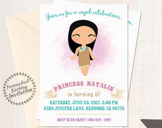 Pocahontas Customizable Birthday Invitations, Princess, Girl Birthday Invitations, Indian Birthday, Teepee, Printable, Princess Birthday 058