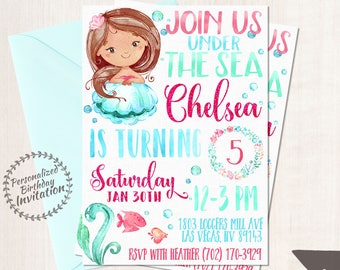 Mermaid Birthday Invitations, Mermaid Birthday Party, Customizable, Beach, Girl Birthday, Printable Invitations, Pink, Teal, African 066