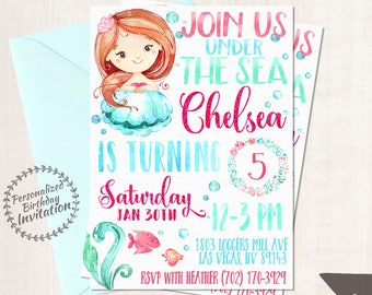 Mermaid Birthday Invitations, Mermaid Birthday Party, Customizable, Beach, Girl Birthday, Printable Invitations, Pink, Teal, Red Hair 066
