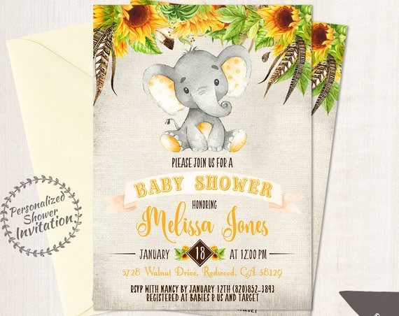 Sunflower Elephant Baby Shower Invitations, Printable Invitations, Fall Baby Shower, Elephant, Yellow, Floral, Sunflowers, Nursery, 015