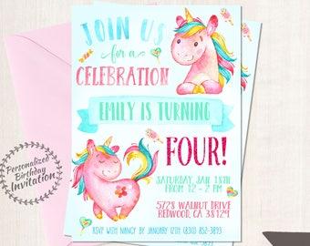 Unicorn Birthday Invitations, Unicorn Birthday Party, Customizable, Pony, Girl Birthday, Printable Invitations, Pink, Teal, Magical 067