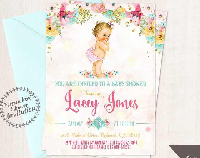 Featured listing image: Vintage Baby Girl Baby Shower Invitations, Baby Shower Invitations, Printable Invitations, Baby Girl, Blonde, Teal, Pink, Floral 001