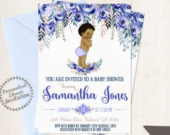 African American Vintage Baby Boy, Baby Shower Invitations, Printable Baby Shower Invitations, Baby Boy, Black, Blue, Indigo, Floral 020