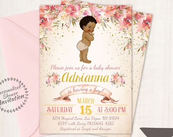 African American Vintage Baby Boy, Floral Baby Shower Invitations, Printable Baby Shower Invitations, Baby Boy, Black, Pink, Floral 023