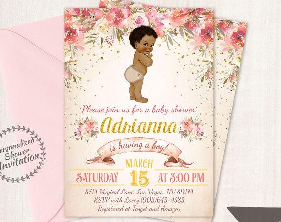 African American Vintage Baby Boy, Floral Baby Shower Invitations, Printable Baby Shower Invitations, Baby Boy, Black, Pink, Floral 023