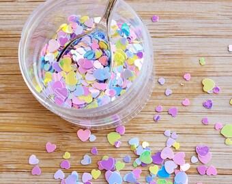 5 grams - 3-5mm Pastel Rainbow Heart Glitter, Iridescent, Glitter, Pink, Purple, Blue Glitter, Confetti, Kawaii, Resin Glitter
