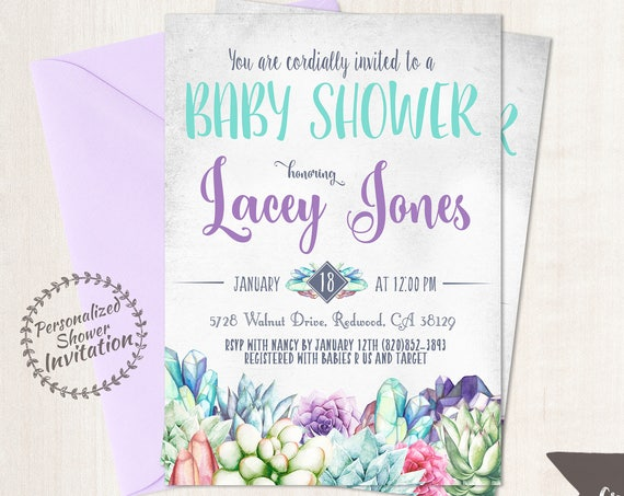 Succulent Baby Shower Invitations, Succulents, Cactus, Pastel Baby Shower Invitations, Printable Invitations, Crystals, Teal, Purple 018