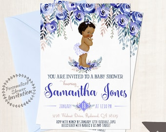African American Vintage Baby Girl, Baby Shower Invitations, Printable Baby Shower Invitations, Baby Girl, Black, Blue, Indigo, Floral 020
