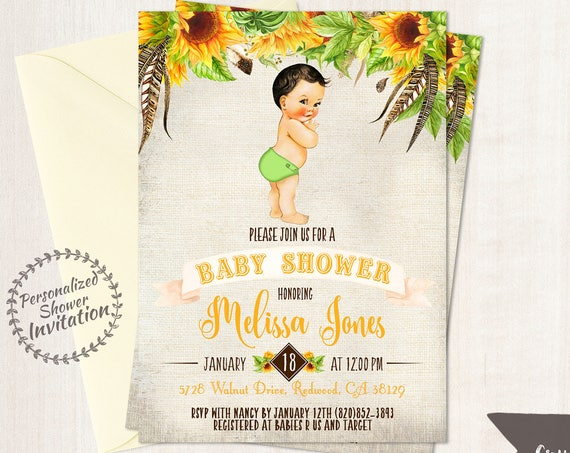 Sunflower Boy Baby Shower Invitations, Fall Baby Shower Invitations, Printable Invitations, Baby Boy, Yellow, Autumn, Sunflower, Floral 014