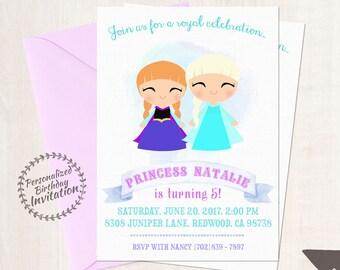 Frozen Princess Anna and Princess Elsa Customizable Birthday Invitations, Princess, Girl Birthday Invitation, Frozen Birthday, Printable 052