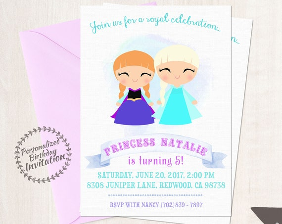 Frozen Princess Anna and Princess Elsa Customizable Birthday Invitations, Princess, Girl Birthday Invitation, Frozen Birthday, Printable 052
