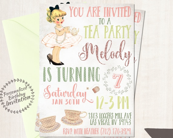 Vintage Tea Party Birthday Invitations,  Tea Party, Customizable, Girl Birthday Invitations, Tea Party Birthday, Printable Invitations 045