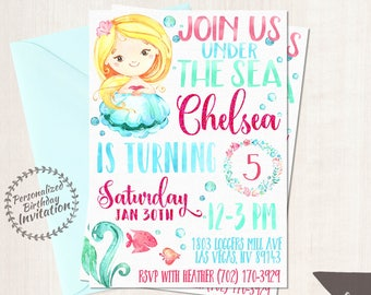 Mermaid Birthday Invitations, Mermaid Birthday Party, Customizable, Beach, Girl Birthday, Printable Invitations, Pink, Teal, Blonde Hair 066