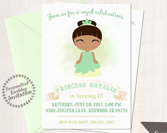 Princess Tiana Birthday Invitations,  Customizable, Princess, Girl Birthday Invitations, Tiana Birthday, Printable, Party, Fairy Tale 062