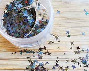 5 grams - 3-6mm Holographic Twilight Glitter, Star Glitter, Glitter, Black Star, Glitter Confetti, Confetti, Kawaii, Resin Glitter