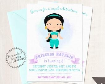 Princess Jasmine Customizable Birthday Invitations, Princess, Girl Birthday Invitations, Jasmine Birthday, Printable, Princess Birthday 058