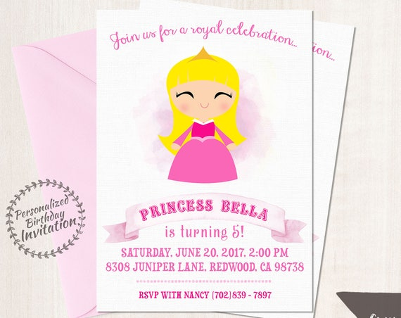 Princess Aurora Customizable Birthday Invitations, Princess, Girl Birthday Invitations, Sleeping Beauty Birthday Party, Printable 056
