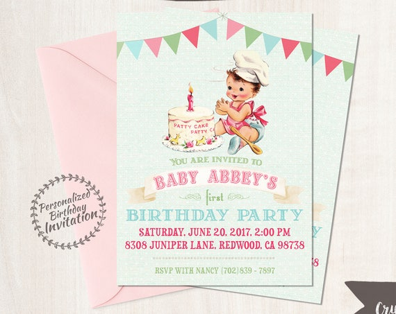 Vintage Baby Girl Customizable Birthday Invitations, Customize, Girl Birthday Invitations, First Birthday, Printable Invitations 100