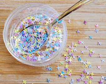 5 grams - 4mm Rainbow Twilight Glitter, Star Glitter, Glitter, Pink, Yellow, Purple, Blue, Glitter Confetti, Confetti, Kawaii, Resin Glitter