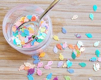 5 grams - 7mm Rainbow Fish Glitter, Round Glitter, Glitter, Pink, Purple, Blue, Glitter Confetti, Confetti, Kawaii, Resin Glitter