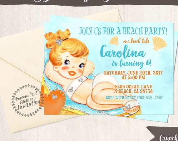 Vintage Beach Customizable Birthday Invitations, Customize, Girl Birthday Invitations, Swimming Birthday, Printable Invitations, Beach 046