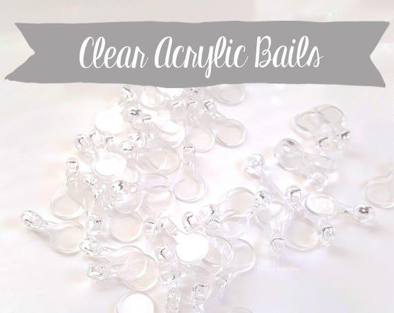 50 PCS - Clear Acrylic Bails, Plastic Bails, Jewelry Bails, Epoxy, Shaker Mold, Charm Bails, Kawaii, Resin Mold, Hollow Mold, UV Resin Charm