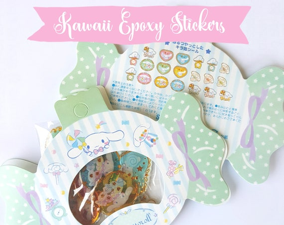 20 PCS Epoxy Sticker Set, Kawaii Stickers, Cinnamoroll, Resin Stickers, Cute Stickers, Pastel, Sticker Flakes, Planner Stickers, Japanese