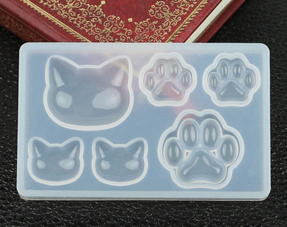 Mini Cat Head and Paw Molds, Resin Mold, Silicone Mold, Epoxy, Mold, Charm Mold, Kawaii, Resin Mold, Mold, UV Resin Mold