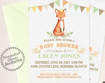 Prince Fox, Boy Baby Shower Invitations, Printable Invitations, Baby Boy, Orange, Green, Woods, Rustic, Forest, Fox, Autumn, Fall Animal 004