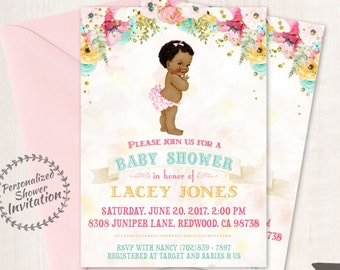 African American Vintage Baby Girl, Baby Shower Invitations, Printable Baby Shower Invitations, Baby Girl, Black, Teal, Pink, Floral 001