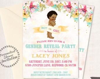 Vintage Gender Reveal Baby Shower Invitations, Baby Shower Card, Printable Invitations, Boy or Girl, Pink or Blue, African, Teal, Gold, 001