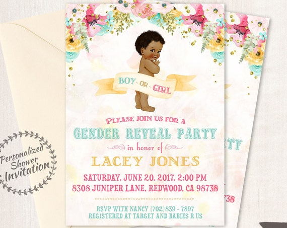 Vintage Gender Reveal Baby Shower Invitations, Baby Shower Card, Printable Invitations, Boy or Girl, Pink or Blue, African, Teal, Gold, 001