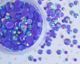 500 PCS- 3mm - 12mm Purple Flatback Rhinestones, Rhinestones, Acrylic Gems, Loose Rhinestones, Rhinestone Confetti, Confetti, Rainbow