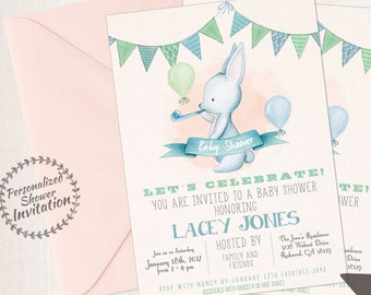Cute Bunny, Boy Baby Shower Invitations, Printable Invitations, Baby Boy, Blue, Green, Rabbit, Bunny, Animal 002