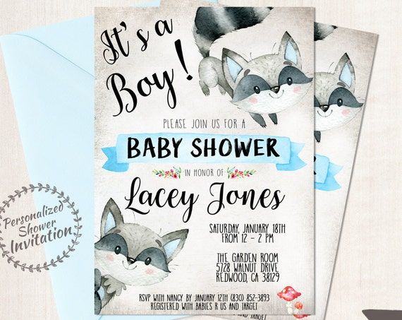It's A Boy, Boy Baby Shower Invitations, Printable Invitations, Baby Boy, Blue, Woodland, Rustic, Forest, Raccoon, Autumn, Fall Animal 008