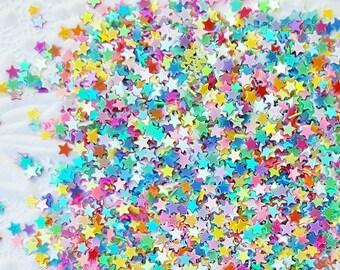 5 grams - 3mm Rainbow Star Glitter, Rainbow Star Glitter, Glitter, Assorted Colors, Glitter Confetti, Confetti, Kawaii, Resin Glitter