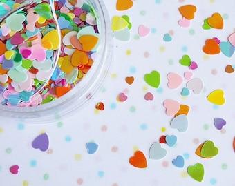 5 grams - 3-6mm Iridescent Rainbow Heart Glitter, Heart Glitter, Glitter, Pink Glitter Confetti, Confetti, Kawaii, Resin Glitter