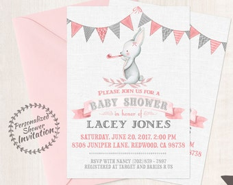 Cute Bunny, Girl Baby Shower Invitations, Printable Invitations, Baby Girl, Pink, Gray, Grey, Rabbit, Bunny, Animal 003