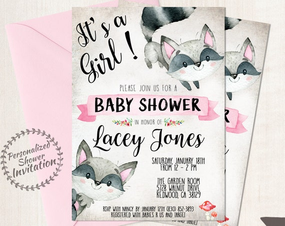 It's A Girl, Girl Baby Shower Invitations, Printable Invitations, Baby, Pink, Woodland, Rustic, Forest, Raccoon, Autumn, Fall Animal 008