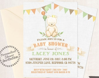 Teddy Bear, Boy Baby Shower Invitations, Printable Invitations, Baby Boy, Orange, Green, Forrest, Forest, Bear, Autumn, Fall Animal 004