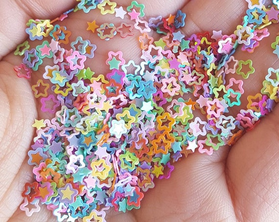 5 grams - 4mm Hollow Star Glitter, Rainbow Star Glitter, Glitter, Assorted Colors, Glitter Confetti, Confetti, Kawaii, Resin Glitter