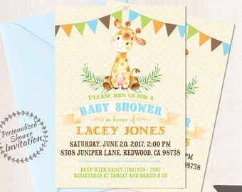 Baby Giraffe, Boy Baby Shower Invitations, Printable Invitations, Baby Boy, Safari, Jungle, Giraffe, Blue, Green, Nursery, Cute 008