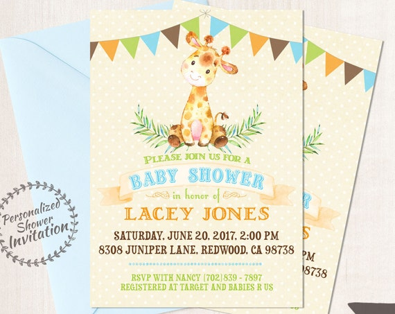 Baby Giraffe, Boy Baby Shower Invitations, Printable Invitations, Baby Boy, Safari, Jungle, Giraffe, Blue, Green, Nursery, Cute 008