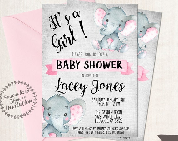 Pink Elephant, Girl Baby Shower Invitations, Printable Invitations, Baby Girl, Safari, Jungle, Elephant, Pink, Grey, Nursery, Cute 005