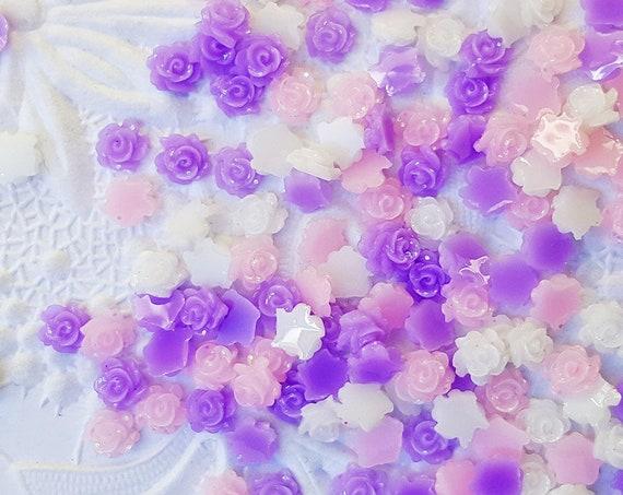 200PCS 5mm Rose Confetti, Flat Back Cabochon Confetti, Glitter, Mini Roses, Glitter Confetti, Confetti, Kawaii, Resin Glitter