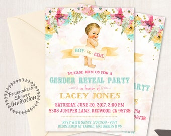 Vintage Gender Reveal Baby Shower Invitations, Baby Shower Card, Printable Invitations, Boy or Girl, Pink or Blue, Teal, Pink, Floral 001