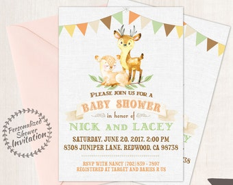 Couples Baby Shower Invitations, Printable Invitations, Card, Woodland, Deer, Orange, Green, Rustic, Forest, Fawn, Autumn, Fall Animal 007